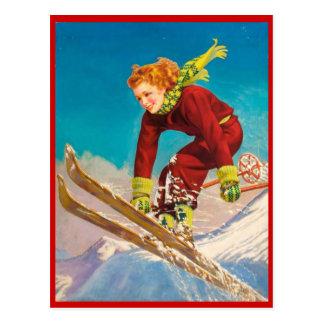 Deportes de invierno del vintage, esquí cuesta aba postales