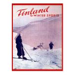 Deportes de invierno del vintage, esquí Finlandia Tarjetas Postales