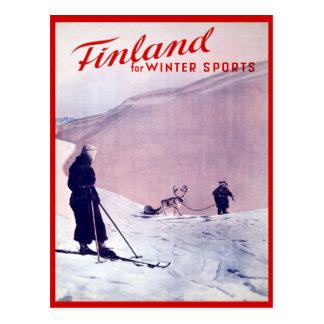 Deportes de invierno del vintage, esquí Finlandia Tarjeta Postal