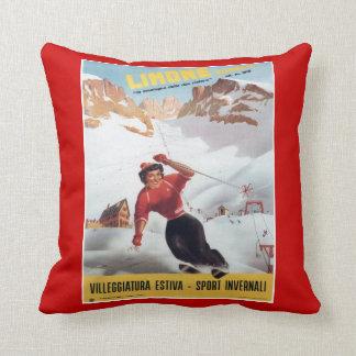 Deportes de invierno del vintage, esquí Italia, Cojín Decorativo