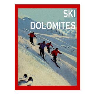 Deportes de invierno del vintage, esquí Italia, do Tarjetas Postales