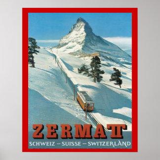 Deportes de invierno del vintage, esquí Suiza, Zer Póster