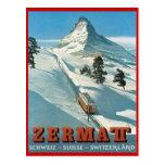 Deportes de invierno del vintage, esquí Zermatt, S Postal
