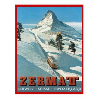 Deportes de invierno del vintage, esquí Zermatt, S Tarjeta Postal