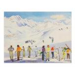 Deportes de invierno del vintage, esquiadores en l postal