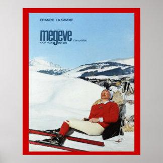 Deportes de invierno del vintage, Francia, Saboya, Póster