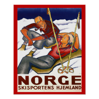 Deportes de invierno del vintage, Noruega, deporte Posters