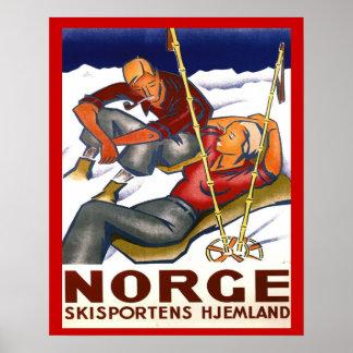 Deportes de invierno del vintage, Noruega, deporte Póster