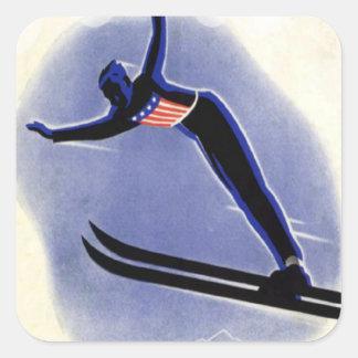 Deportes de invierno del vintage - puente de esquí pegatina cuadrada