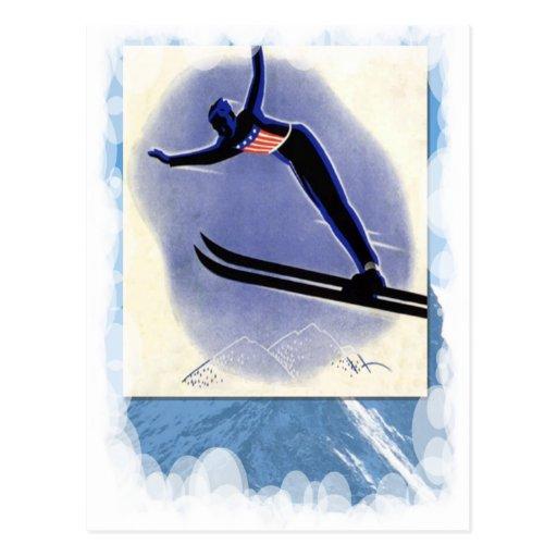 Deportes de invierno del vintage - puente de esquí postales