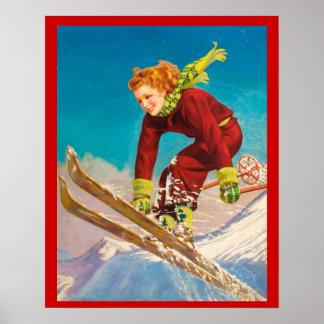 Deportes de invierno del vintage, puente de esquí  póster