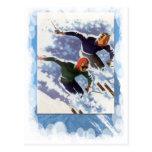 Deportes de invierno del vintage - raza postal