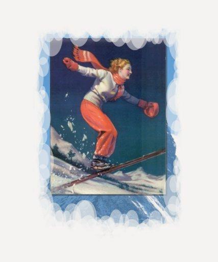 Deportes de invierno del vintage - volando abajo d camisetas