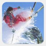 Deportes de invierno, el ekiing extremo calcomanía cuadradase