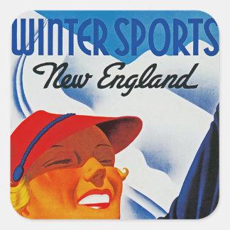 Deportes de invierno en Nueva Inglaterra Pegatina Cuadrada