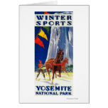 Deportes de invierno en Yosemite PosterYosemite, C Tarjeta De Felicitación
