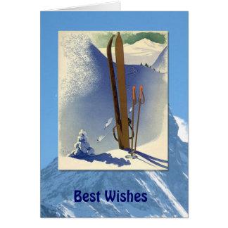 Deportes de invierno - escena del esquí del tarjeta de felicitación