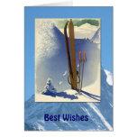 Deportes de invierno - escena del esquí del vintag tarjeta