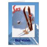 Deportes de invierno - esquís y polos del vintage tarjetas