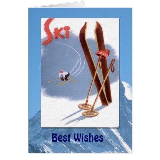 Deportes de invierno - esquís y polos del vintage tarjeta de felicitación