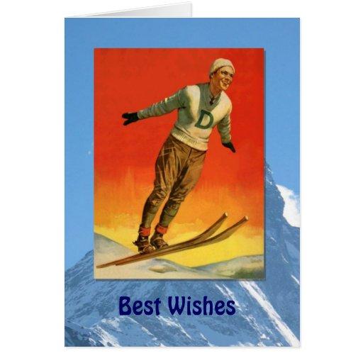 Deportes de invierno - salto de esquí del vintage tarjeta de felicitación