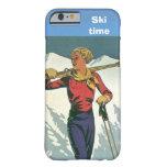 Deportes de invierno - tiempo del esquí funda de iPhone 6 barely there