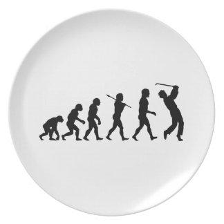 Deportes de la diversión de la evolución del golf platos de comidas