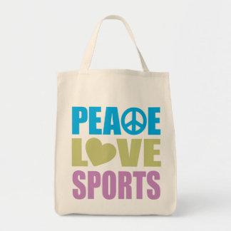 Deportes del amor de la paz bolsa lienzo