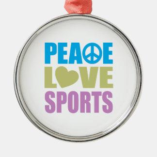 Deportes del amor de la paz adorno redondo plateado