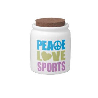 Deportes del amor de la paz plato para caramelo