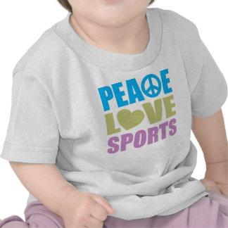 Deportes del amor de la paz camiseta