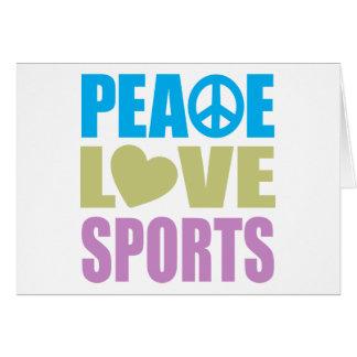 Deportes del amor de la paz tarjeton