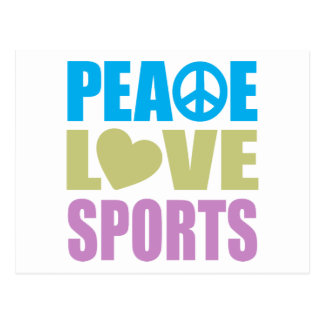 Deportes del amor de la paz postal