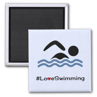 Deportes del azul de la diversión de la natación imán cuadrado