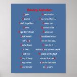 Deportes del azul del alfabeto de la diversión del póster