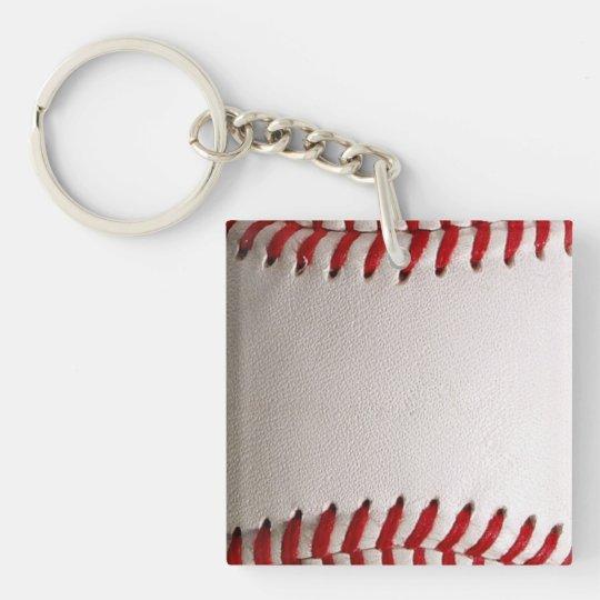 Deportes del béisbol llavero cuadrado acrílico a doble cara