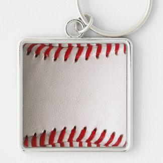 Deportes del béisbol llavero cuadrado plateado