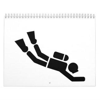 Deportes del buceo con escafandra calendario de pared