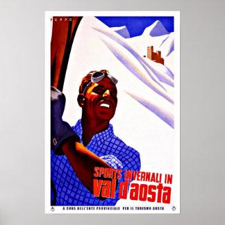 Deportes del esquí en viaje del vintage del valle impresiones