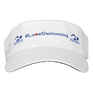 Deportes del hashtag de la natación del amor visera