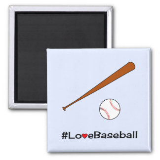 Deportes del lema del hashtag del béisbol del amor imán cuadrado