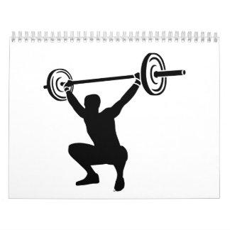 Deportes del levantamiento de pesas calendario de pared