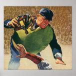 Deportes del vintage, árbitro del jugador de béisb posters