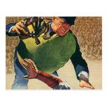 Deportes del vintage, árbitro del jugador de béisb tarjeta postal