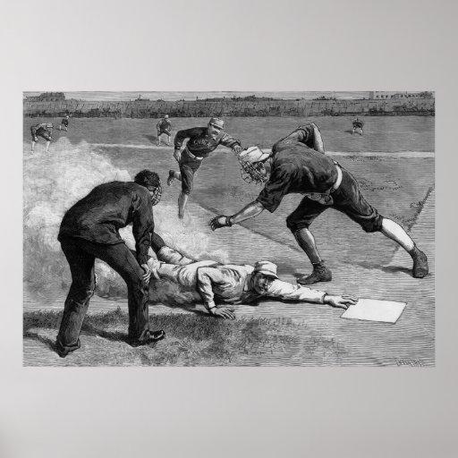 Deportes del vintage, béisbol antiguo blanco negro poster