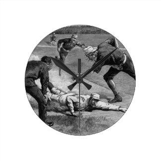 Deportes del vintage béisbol antiguo blanco negro reloj de pared