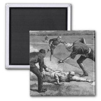 Deportes del vintage, béisbol antiguo blanco y imán cuadrado