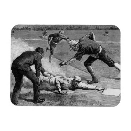 Deportes del vintage, béisbol antiguo blanco y imán