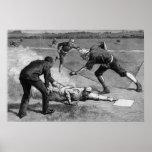 Deportes del vintage, béisbol antiguo blanco y póster