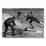 Deportes del vintage, béisbol antiguo blanco y tarjeta de felicitación